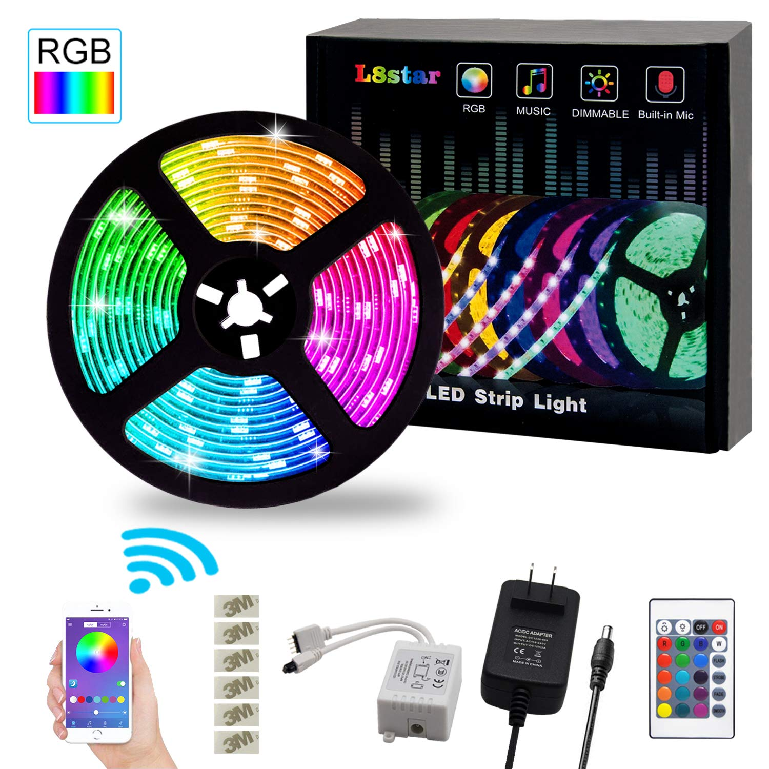 Led Strip Lights L8star Color Changing Rgb Rope Lights 32 8ft 5050 Light Strip Sync With Music Remote Control Apply For Tv Bedroom Party And Home