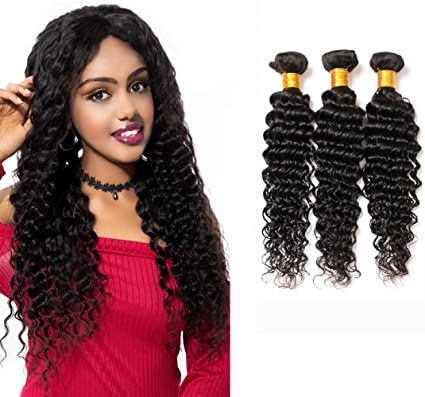 Brazilian Deep Wave Hair Bundles Cheap Deep Curl Hair Brazilian Virgin Remi Hair Deep Wave Hair 3 Bundles Brazillian Deep Curly Weave Short Curly Human Hair 8 10 12 Inch Natural Black