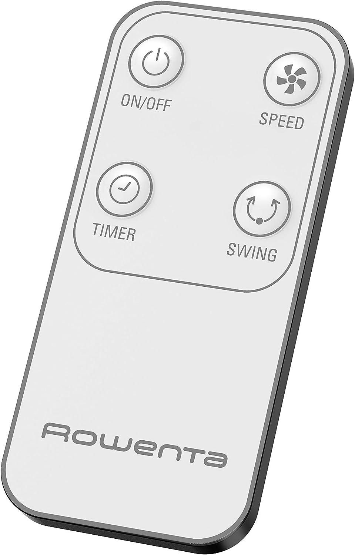 1 33x14x54 CM Ventilateur Performance Silencieux 3 Vitesses sur Pied Electronique avec t/él/écommande Compact Oscillation et Orientation Hauteur r/églable VU4440F0 Rowenta Essential Blanc
