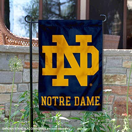 College Flags and Banners Co  Notre Dame Fighting Irish ND Logo Garden Flag