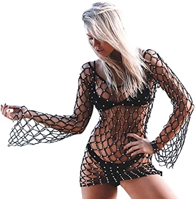 2816ea9768e55 Women Sexy Crochet Fishnet Tunic Cover Up Hollow Rope Swimsuit Smock Loose  Knitted