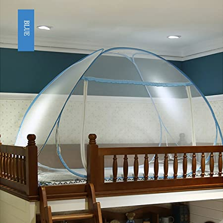 Einzelt/ür-Moskito-Campingvorhang Tragbares Reise-moskitonetz Digead Moskitonetz Bett Blauer Rand Faltbares Bett-Moskitonetz 150 * 200 cm