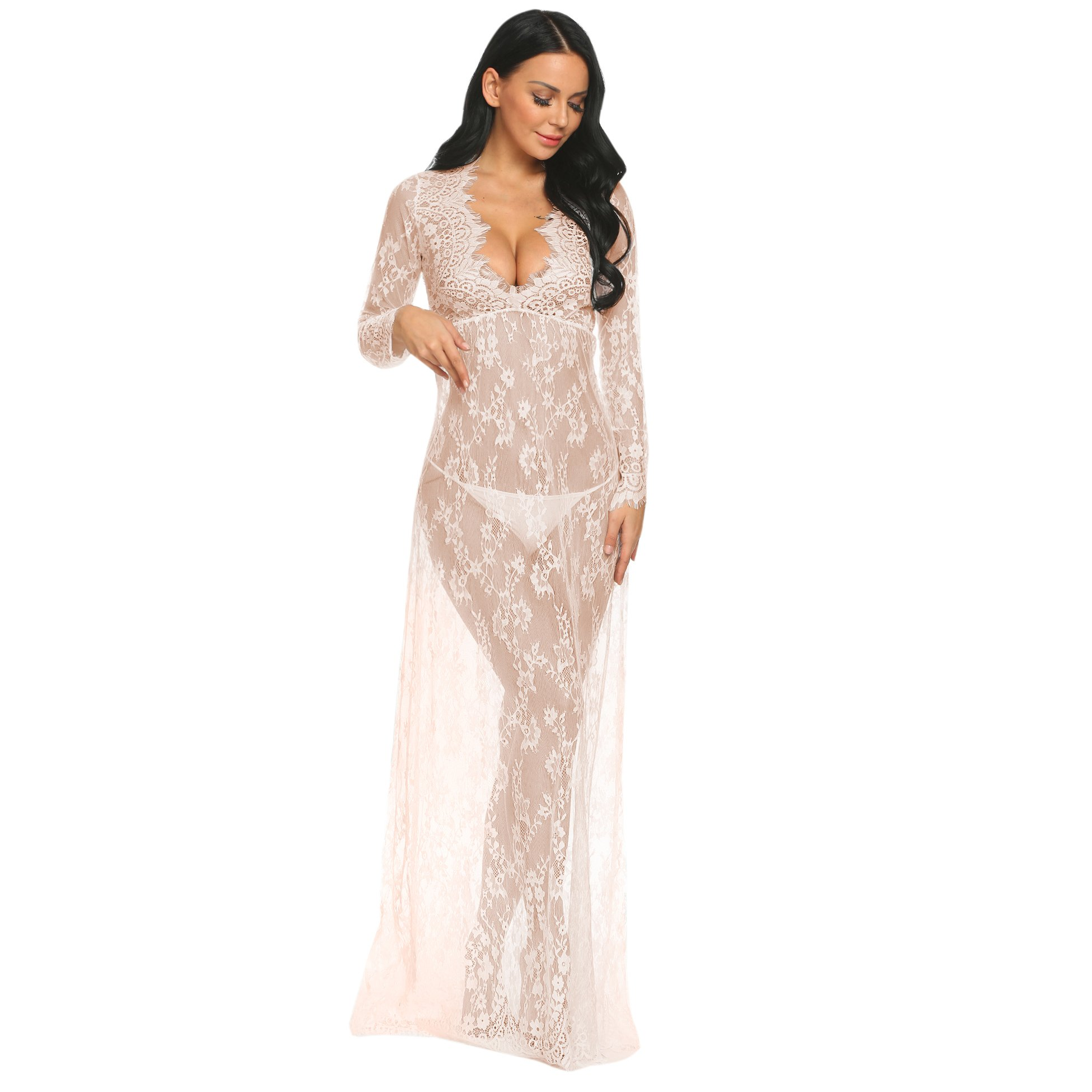 COSYOU Maternity Dress Sexy Off Shoulder Gown Dress for Women (2XL, Beige)