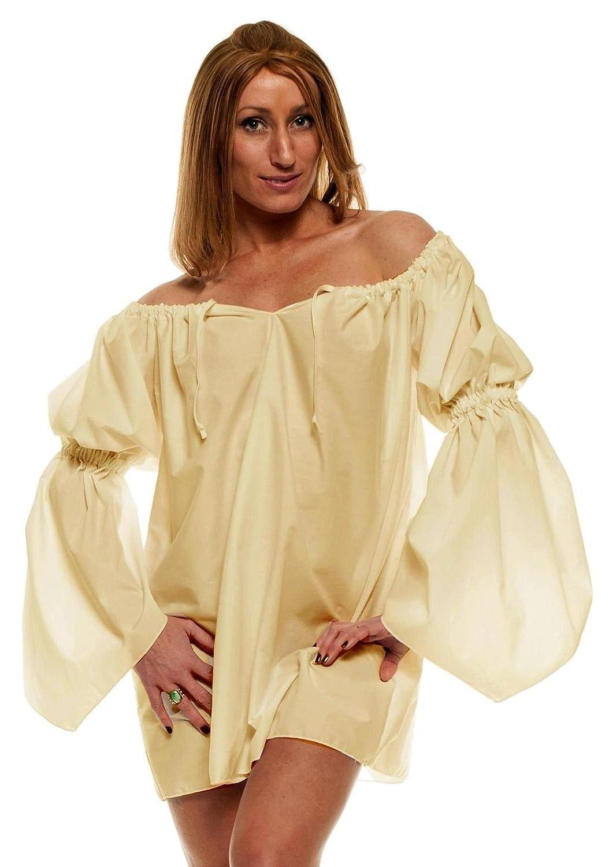 Faire Lady Renaissance Costume Short Cream Chemise - DeluxeAdultCostumes.com