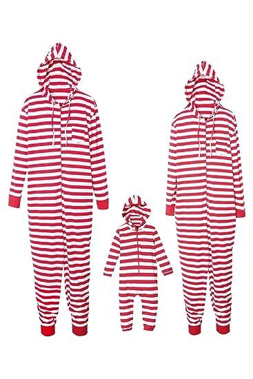 Pijamas Navidad Familiar Mono a Rayas Pijamas Parejas e Hijos Trajes Navideños Pelele con Cremallera e Capucha Conjunto Mama Papá y Bebe Ropa de Dormir ...