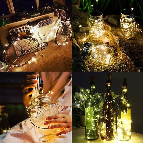 Botella de Luz, 10Pcsx20Leds Alambre de cobre Luz Starlight para botella de bricolaje, para Dormitorio, Fiestas, Bodas, Decoración, 6.5Ft, Blanco Cálido: ...