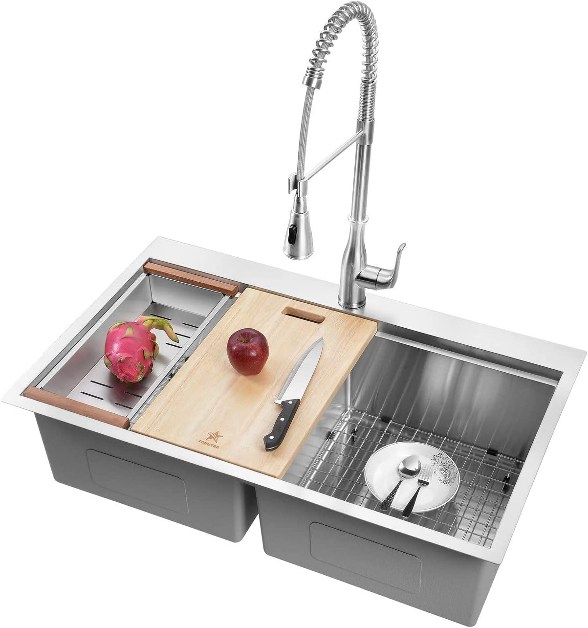 STARSTAR Workstation Ledge Topmount/Drop-in Double Bowl 304 Stainless Steel Kitchen/Yard/Bar/Laundry/Office Sink, With Grid, Wood Hold Colander, Cutting Board, Strainer (36 x 22 x 10 50/50)