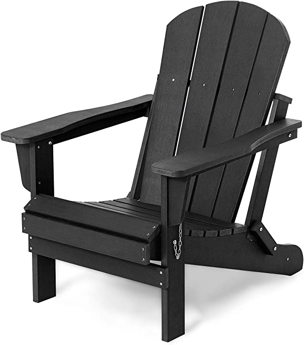 Folding Adirondack Chair Patio Chairs Lawn Chair Outdoor Chairs Painted Adirondack Chair Weather Resistant for Patio Deck Garden, Backyard Deck, Fire Pit & Lawn Furniture Porch and Lawn Seating- Black