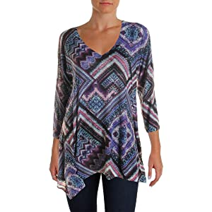 Nally & Millie Womens Knit Printed Tunic Top