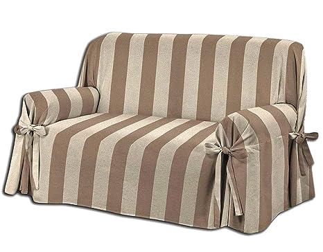 Biancheria Store Funda para sofá con Lazos en 3 tamaños, Color marrón y Beige, Tejido Jacquard a Rayas, 1 Plaza