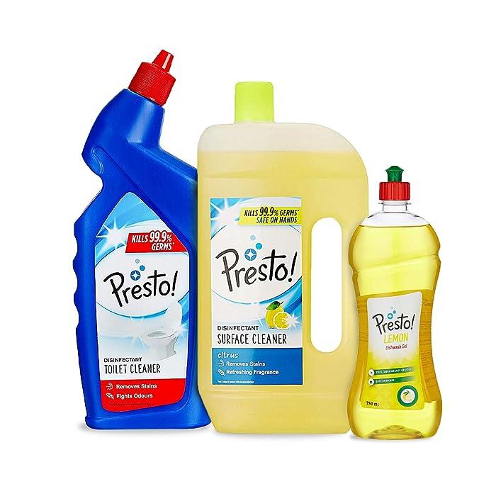 Amazon Brand - Presto! Combo (Toilet Cleaner 1 L + Surface Cleaner 975 ml + Dishwash Gel 750 ml) by Presto!
