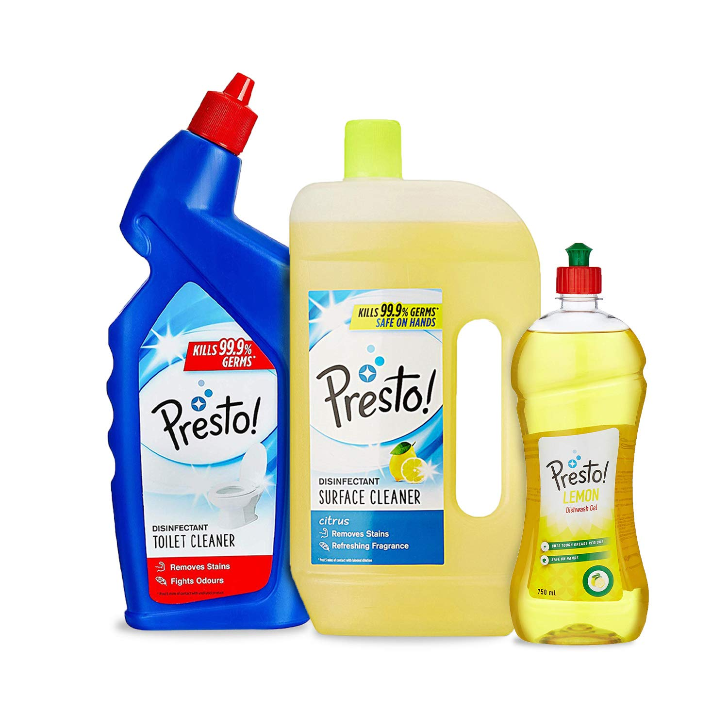 Amazon price history for Amazon Brand - Presto! Combo (Toilet Cleaner 1 L + Surface Cleaner 975 ml + Dishwash Gel 750 ml)