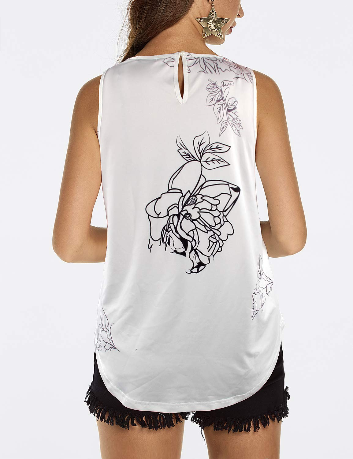 Blooming Jelly Womens Summer Sleeveless Loose Floral Tunic Vest Top for Ladies Going Out White,S