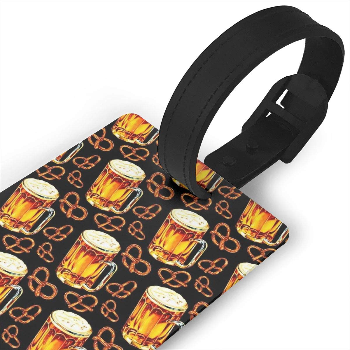 Set of 2 Beer Lamp Pretzel Pattern Black Luggage Tags Suitcase Labels Bag Travel Accessories