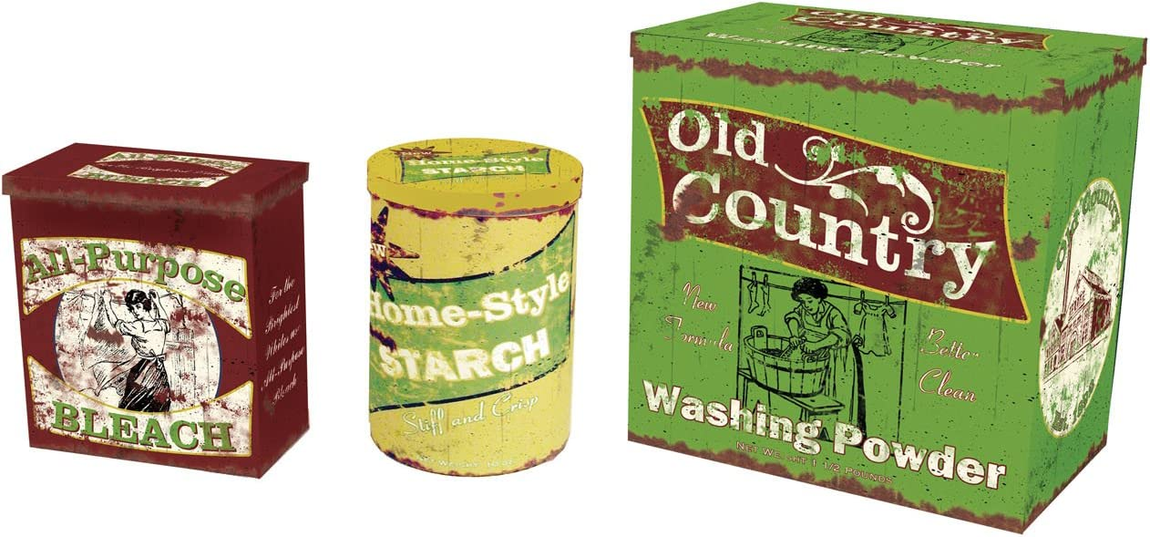 Vintage Laundry Metal Storage Tins | Rustic Home Decor Tabletop Art | Set of 3