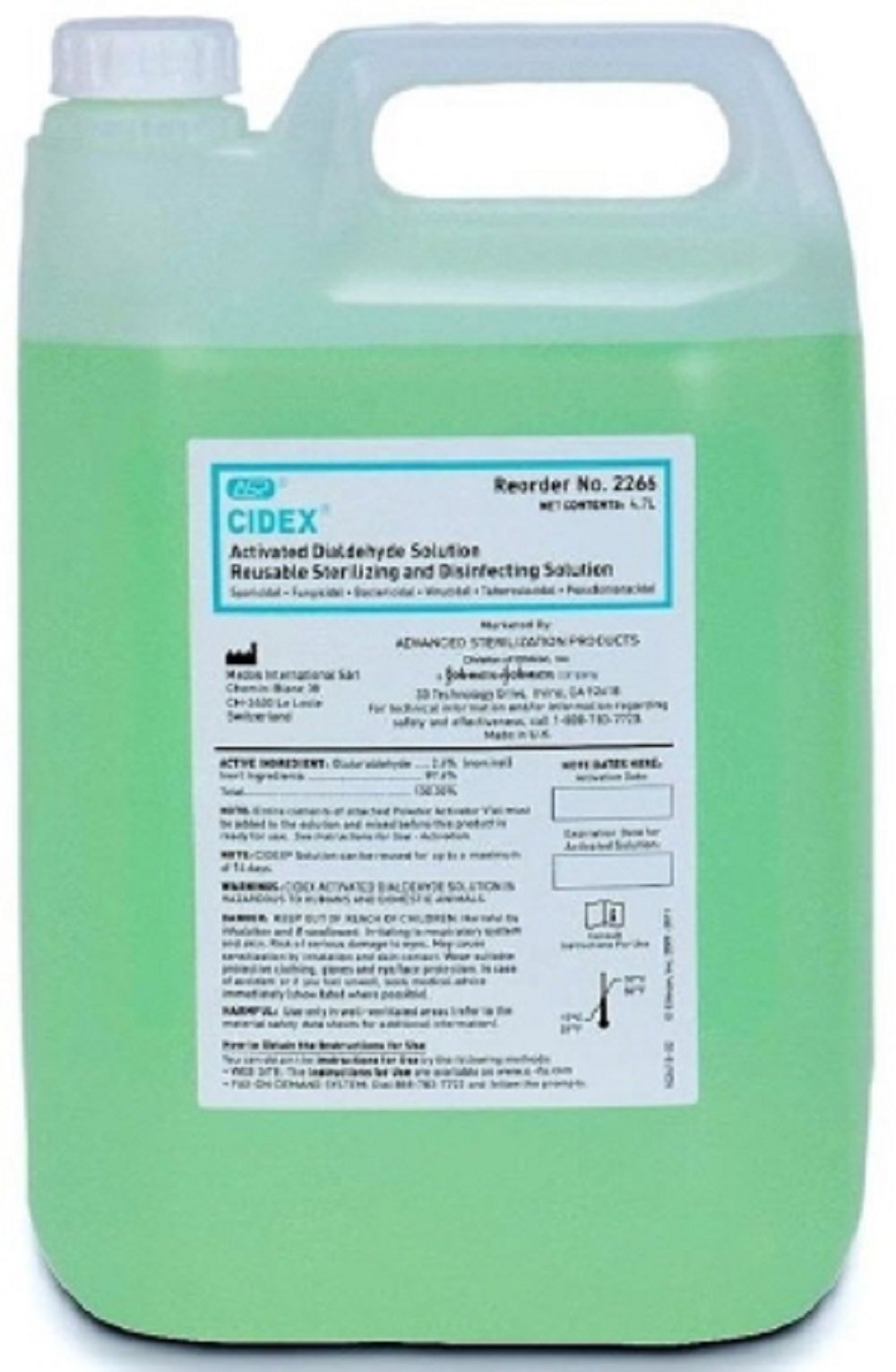 Cidex, Dialdehyde, High Level Disinfectant, Activation Required, 4.7 L Container, Max 14 Day Reuse, Characteristic Scent