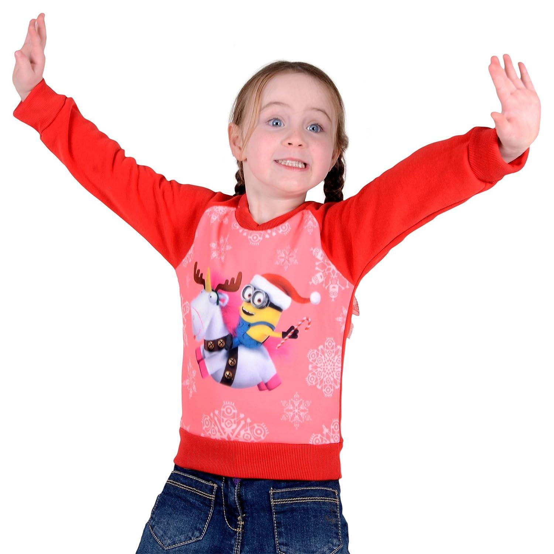 Girls Official Disney Frozen Elsa Purple Christmas Xmas Jumper Sweater Ages 2-3 XS Stock