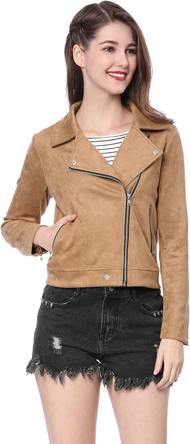 Allegra K Womens Short Soft Zip Up Faux Suede Biker Moto Jacket