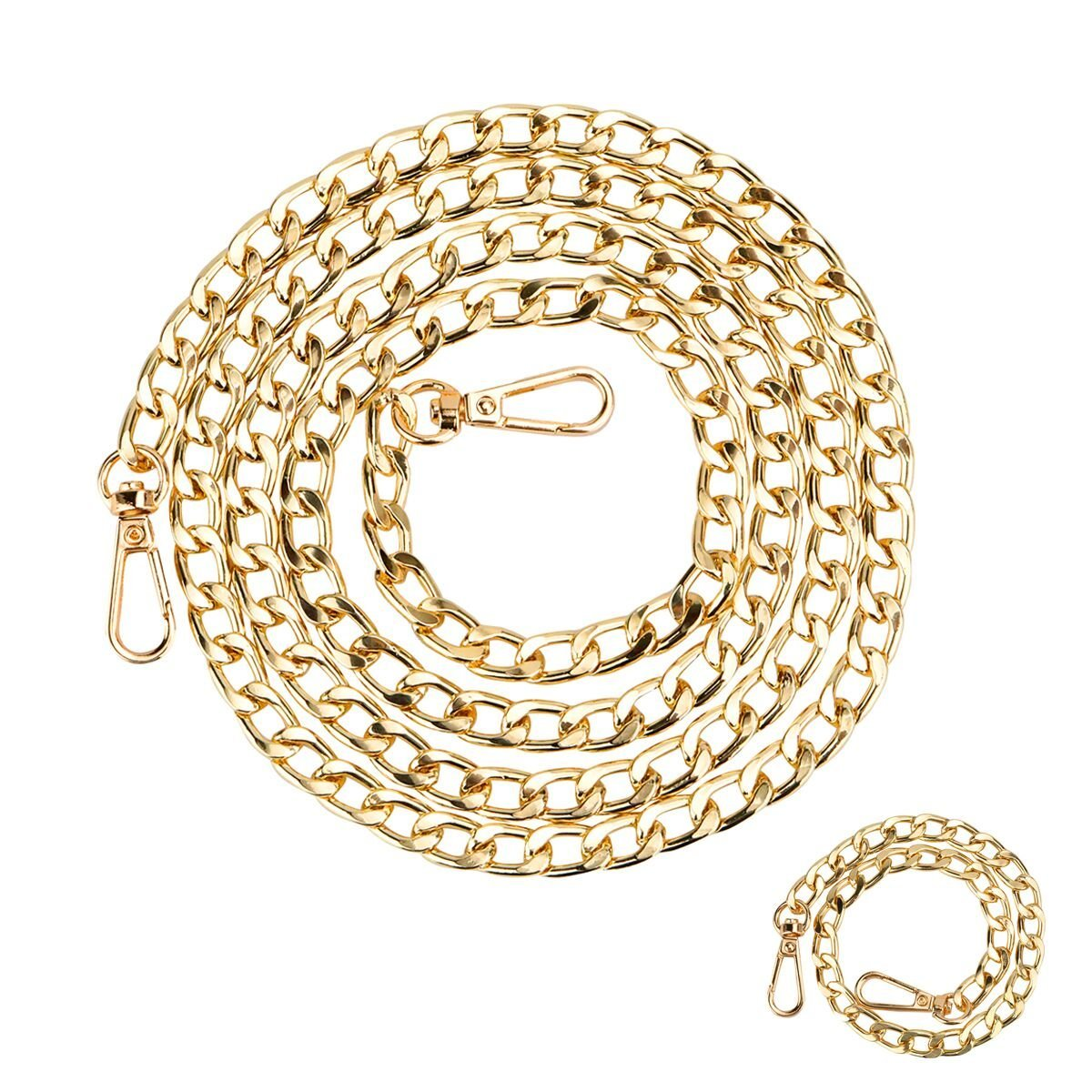 Purse Chain Strap - Replacement Strap or Handle for Crossbody Bags, Handbags, 51 & 15 inch Long, 2PCS, Gold, by Beaulegan PurseStrap003-gold-130+40