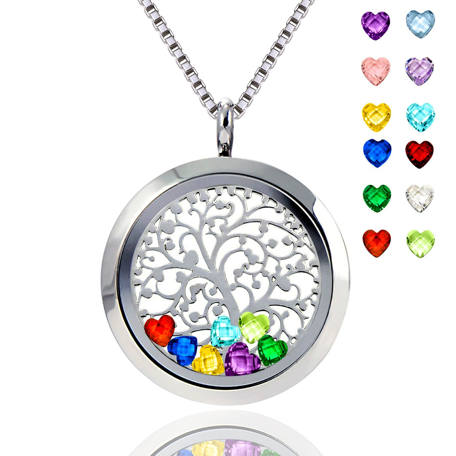 Ronglai Jewelry Floating Locket Pendant Necklace Heart Crystal Family Tree of Life Necklace All Birthstone Charms Include