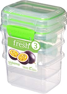 Sistema Fresh Collection Food Storage Containers 3 Pack, Clear/Lime Green