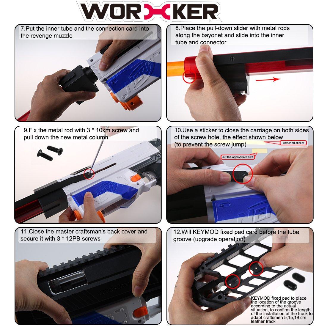 Foxom Worker Modified Kit Nerf Dekoration Zubehör für Nerf Kit Retaliator (Transparent) 4255d5