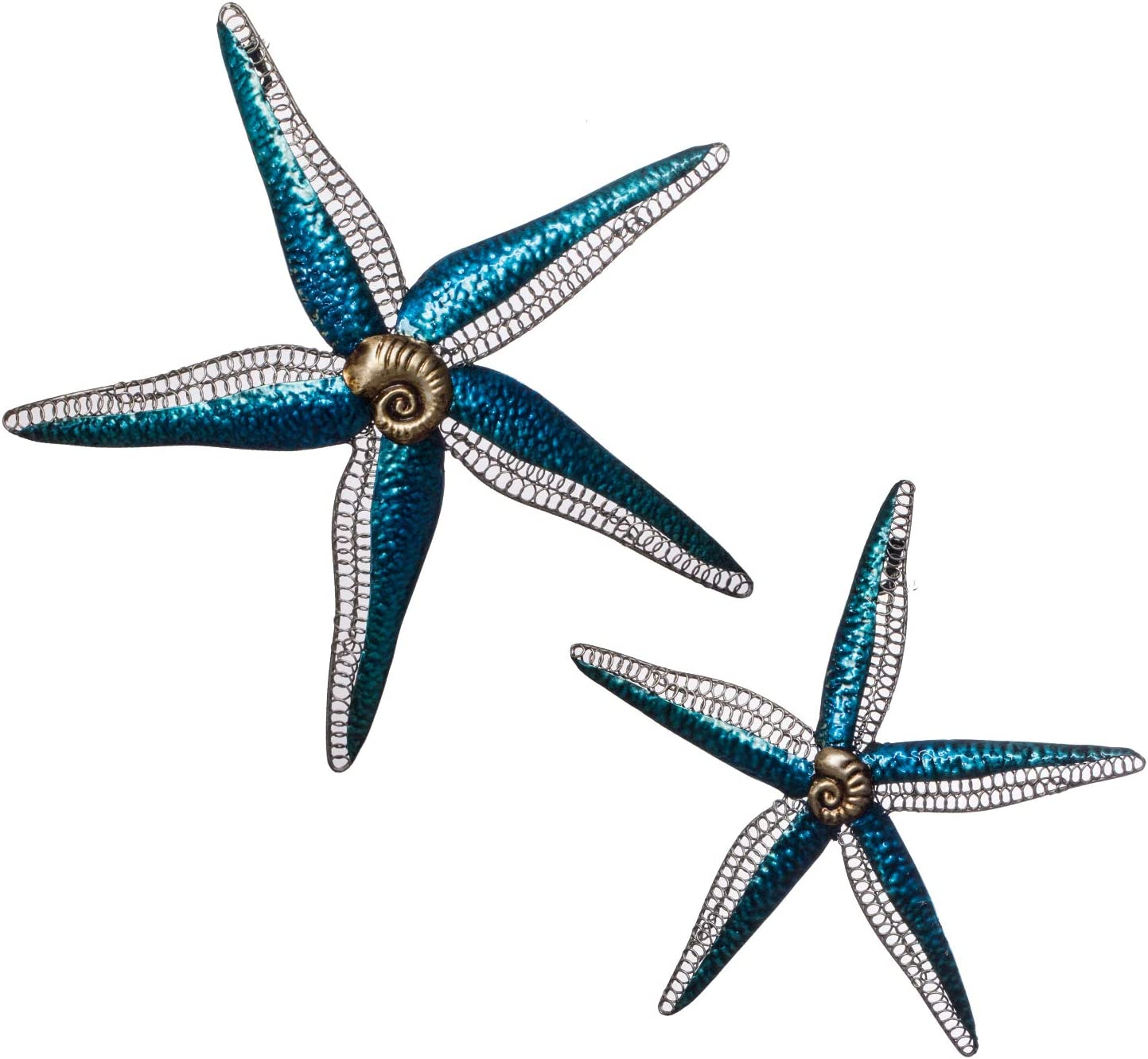 "The Creative Critters Starfish Wall Decor -Set of 2- Lg & Sm - Perfect for That Special Occasion Gift - 3D Metal Wall Art - Hand-Painted - Large-15"" Small- 11"