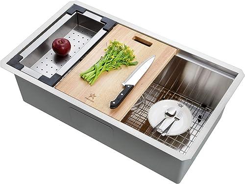 STARSTAR Workstation Ledge Undermount Single Bowl 304 Stainless Steel Kitchen Sink, With Grid, Colander, Cutting Board 32 x 19