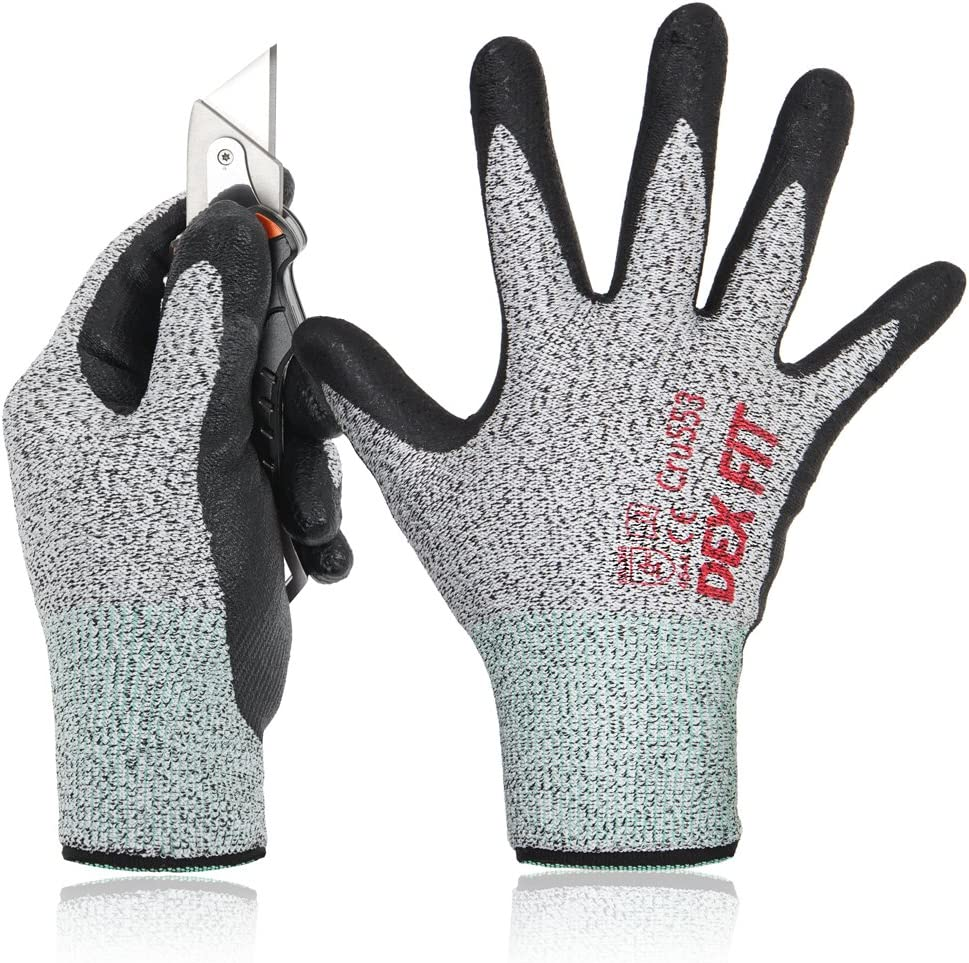 DEX FIT Level 5 Cut Resistant Gloves Cru553, 3D Comfort Stretch Fit, Durable Power Grip Foam Nitrile, Pass FDA Food Contact, Smart Touch, Thin Machine Washable, Grey X-Large 1 Pair