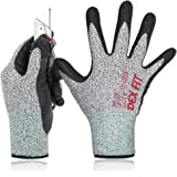 Level 5 Cut Resistant Gloves Cru553, 3D Comfort Power Grip, Durable Water Based Foam Nitrile, Breathable Cool Thin Stretchy Fit, Machine Washable, Large 1 Pair