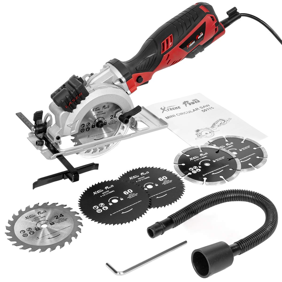 XtremepowerUS Electric Circular Saw Compact Saw with 6 Saw Blade 4-1 2 with Beam Guide 3500RPM for Wood, Soft Metal, PVC, Tile and Plastic Cuts