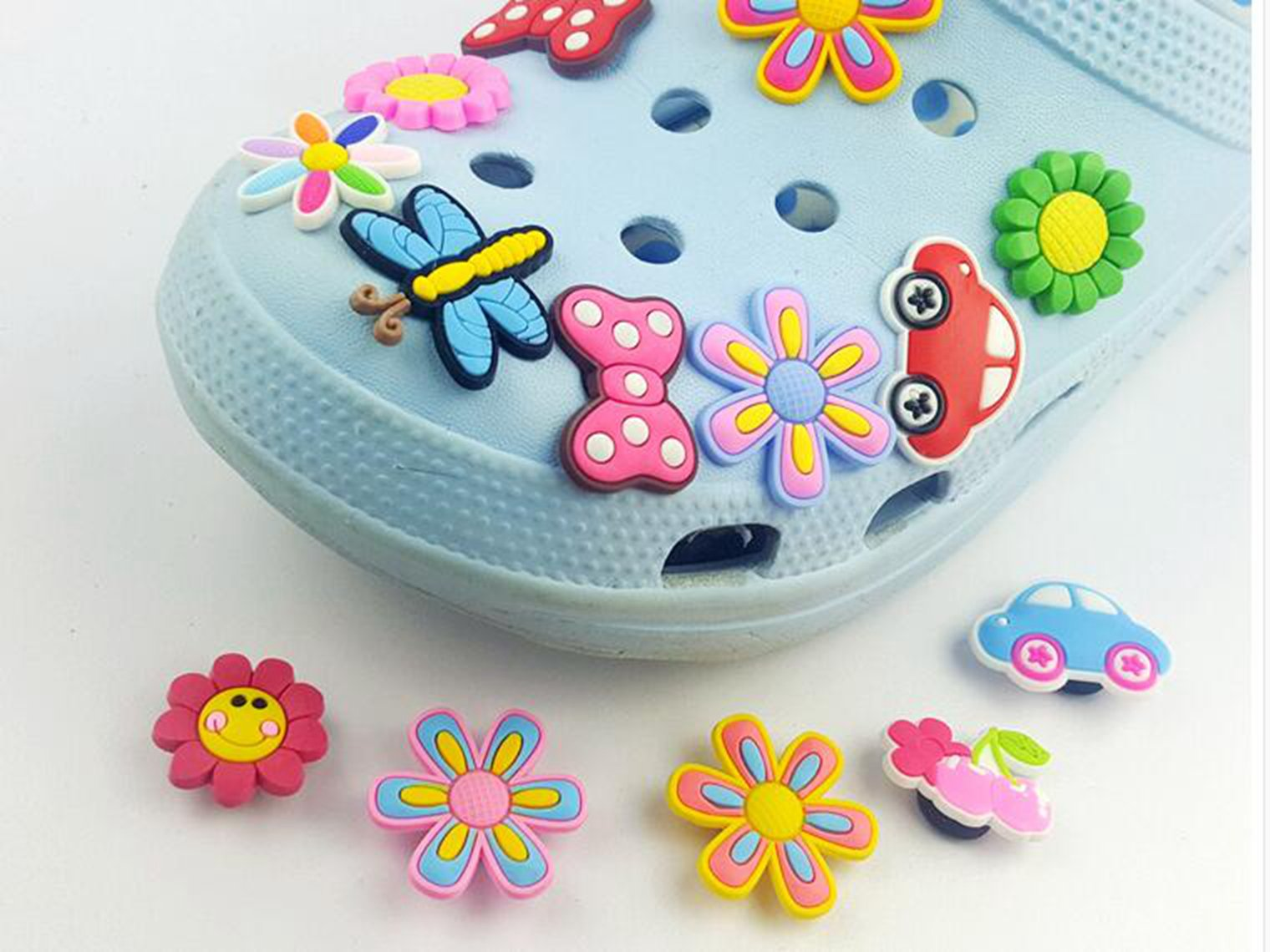 YAOYAO 100 Pcs PVC Shoe Charms Fit Crocs & Bands Bracelet,mix color by YAOYAO (Image #7)