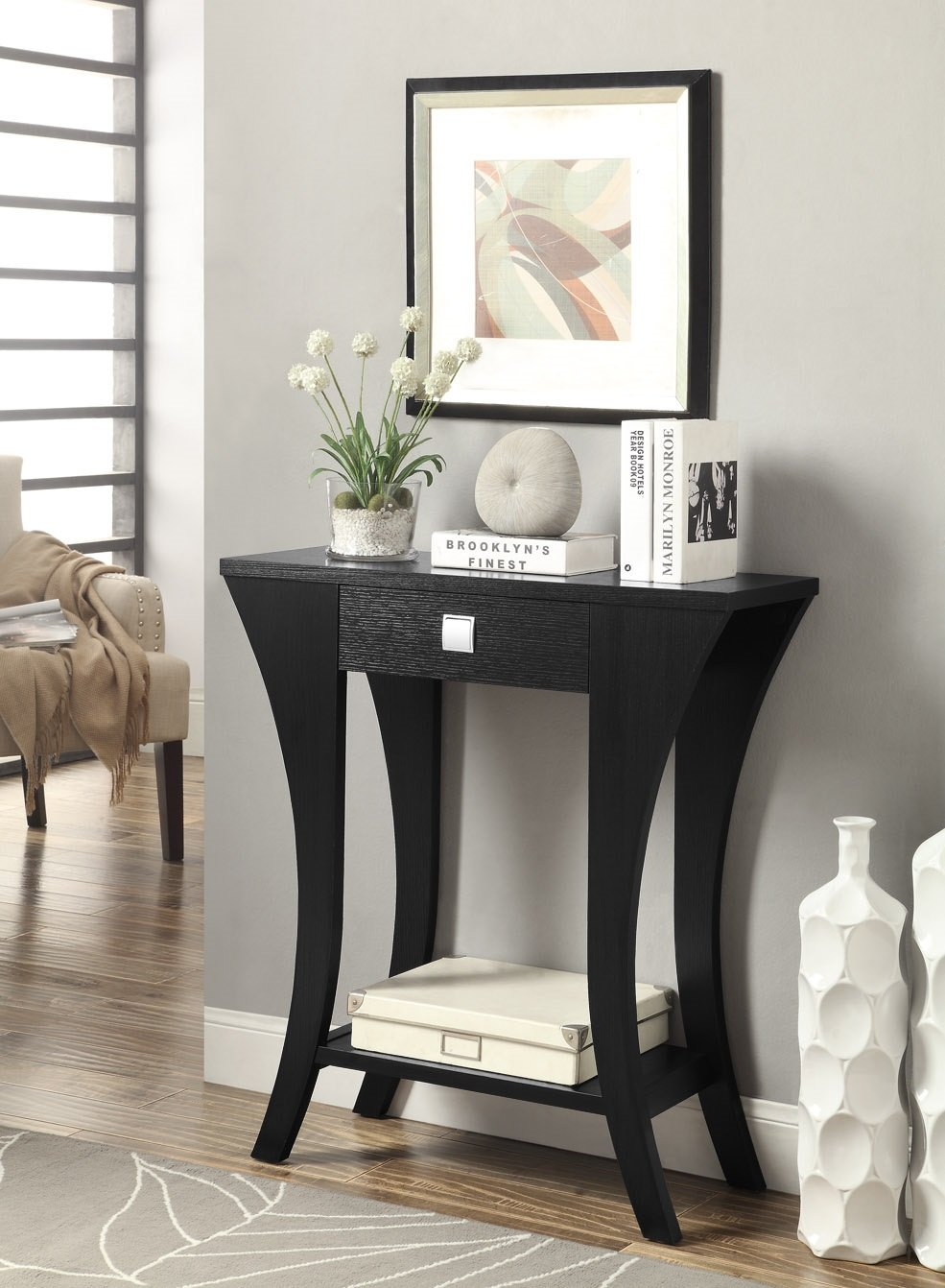 black finish console sofa entry table with drawer by