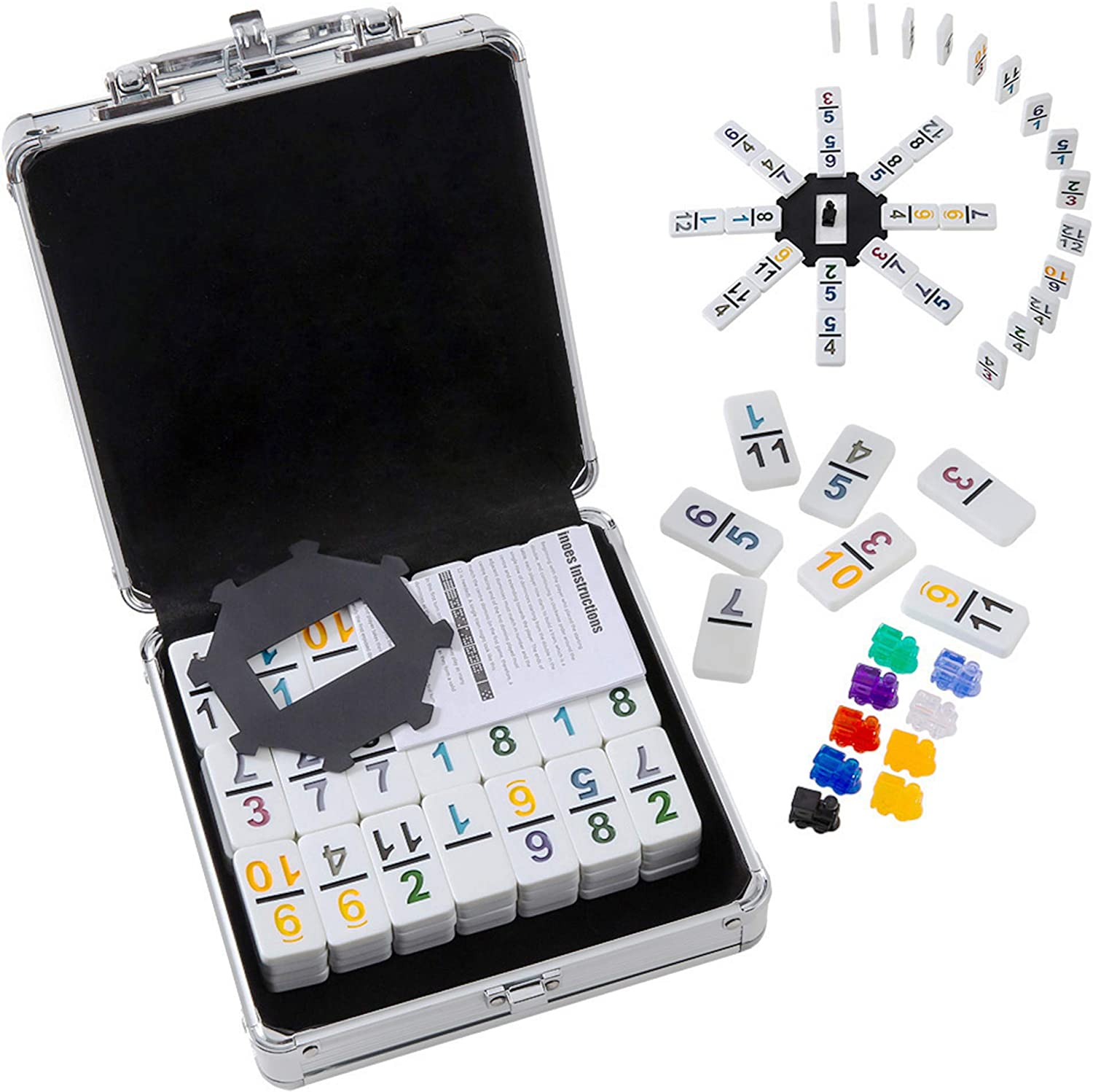 Dominoes Set Double 12 for Travel Tocebe Mexican Train Dominoes Mexican Train with Aluminum Case for Kids and Families
