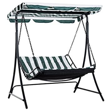 outsunny swing chair bed canopy 2 person double hammock garden bench rh amazon co uk Hammock Swings Product Two-Person Hammock Chair