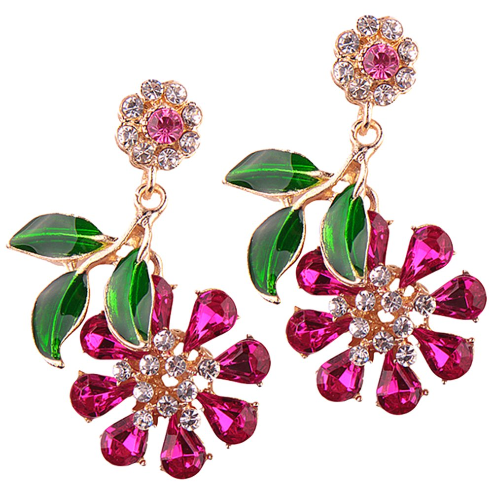 LARGE Rhinestone Crystals Statement Flower Drop Dangling Earrings Perfect Summer Earrings In Pink, Hot Pink, White, Aurora Borealis, and Navy Blue (Hot Pink)