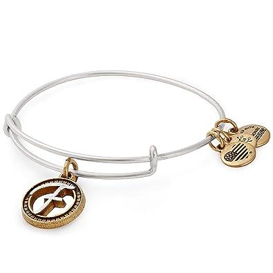 3f06bdf616d Amazon.com  Alex and Ani Initial F Two-Tone Charm Bangle Bracelet -  Rafaelian Gold and Silver Finish  Jewelry