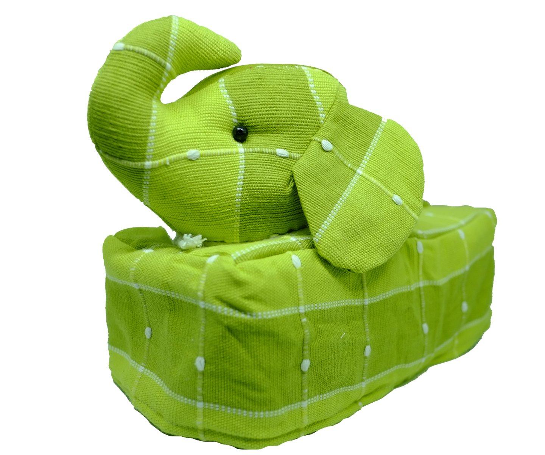 Tissue Box Cover Thai Handmade Elephant Fabric Stuffed Cotton Napkin Thai Asian Style (Green)