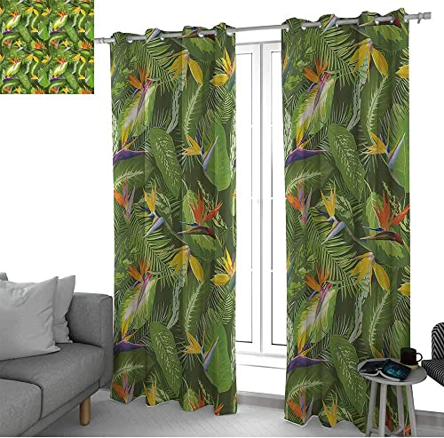 LewisColeridge Blackout Curtain Panels Window Draperies Leaf,Fresh Brazilian Forest Untouched Jungle Paradise Tropical Foliage Flowers,Green Yellow Orange,for Bedroom
