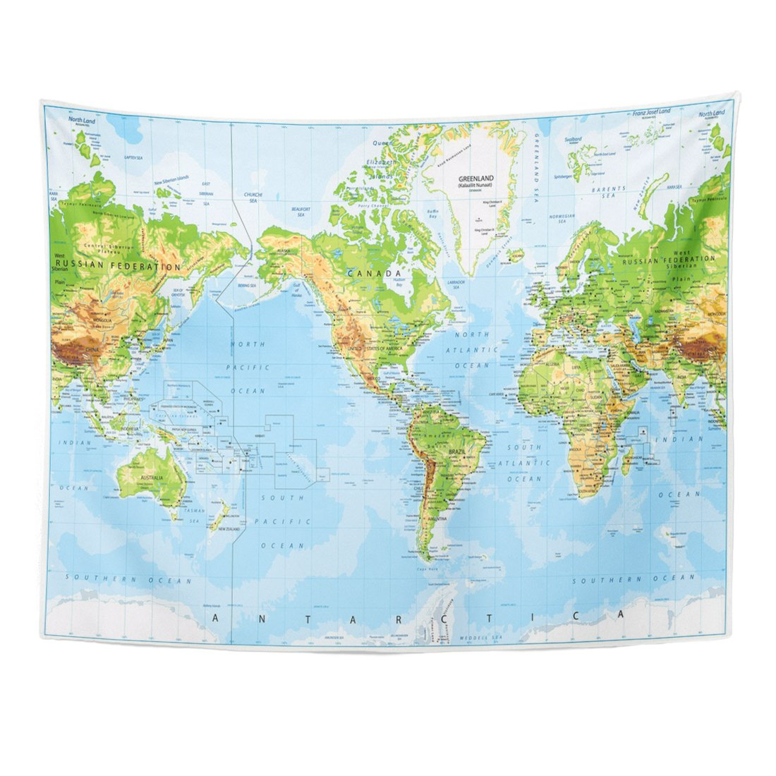 Emvency Tapestry Green Pacific Physical World Map America Centered and Bathymetry Highly Detailed Blue South Topographic Home Decor Wall Hanging for Living Room Bedroom Dorm 60x80 inches