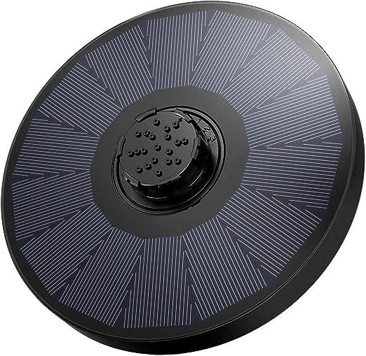 OMORC Bomba Fuente Solar, Bomba de Agua Solar, Fuente Solar Jardín con Boquilla 4 en 1