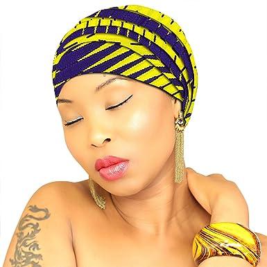 PREMIUM QUALITY Head Wrap VIBRANT Hijab Traditional African Head Wrap  African Head Scarf Chic Collection Light b88989305ed