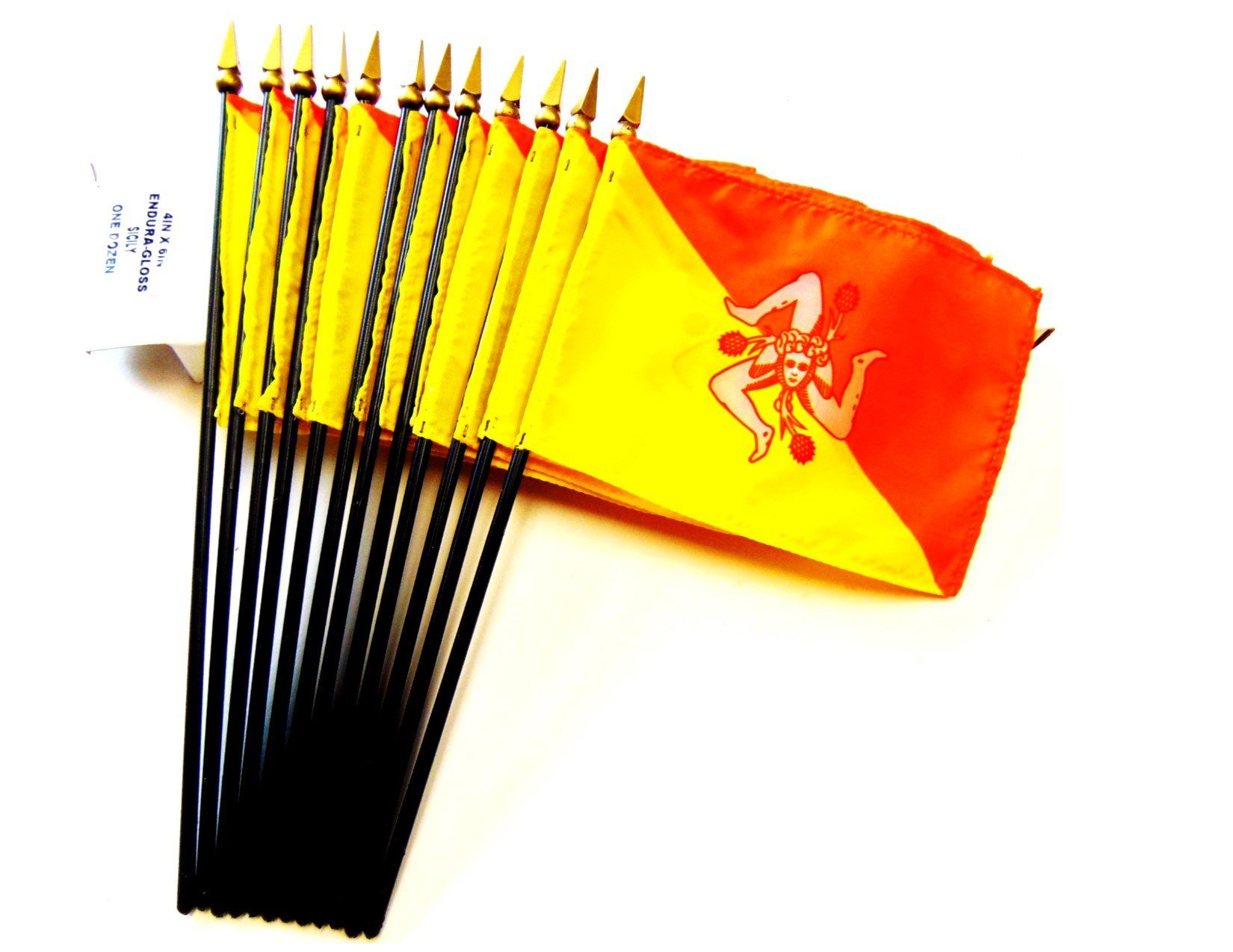 MADE IN USA!! Box of 12 Sicily 4''x6'' Miniature Desk & Table Flags; 12 American Made Small Mini Sicilian Flags in a Custom Made Cardboard Box Specifically Made for These Flags