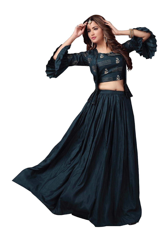 Buy Kyara Women S Crop Top Jacket With Lehenga Readymade Large At Amazon In