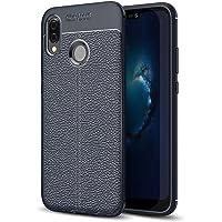 Huawei P20 Lite Kılıf Focus Dokulu Çizgili Silikon Kapak Lacivert