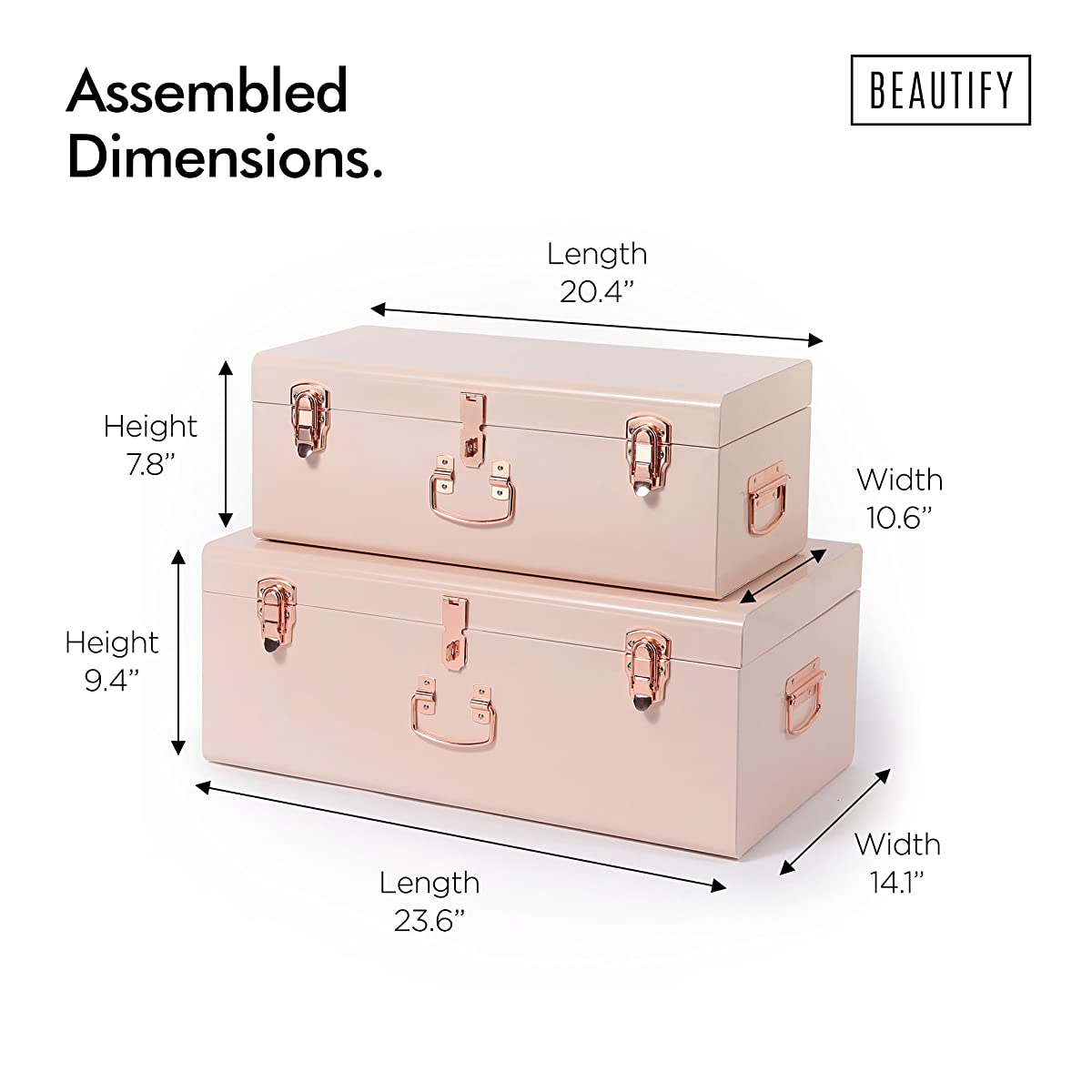 Beautify Blush Pink Vintage Style Steel Metal Storage Trunk Set Lockable and Decorative with Rose Gold Handles - College Dorm and Bedroom Footlocker Trunks