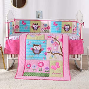 Wowelife Baby Bedding Pink 7 Piece Owl Floral Baby Bed Set with Bumpers 100% Cotton,Pink(Pink C)