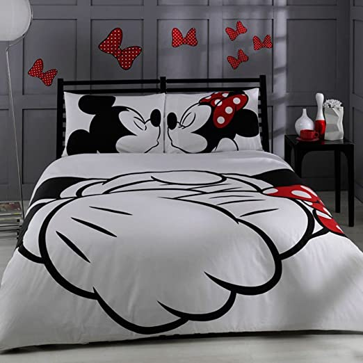 100% algodón turco Disney de Mickey y Minnie Full doble cama