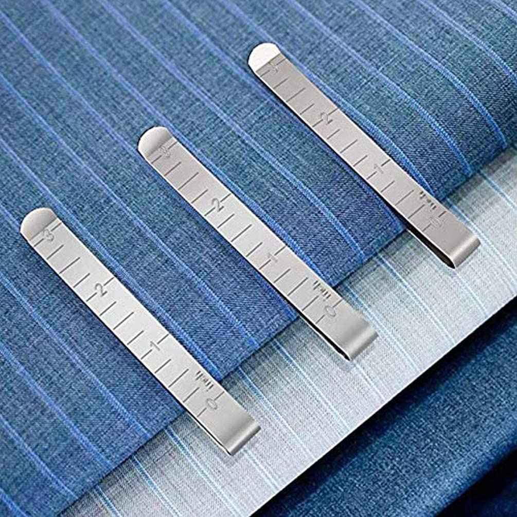 20 Pieces TEOYALL Sewing Clips Measurement Ruler Set of 20 Stainless Steel Hemming Clips Marking Sewing Project Quilting Supplies