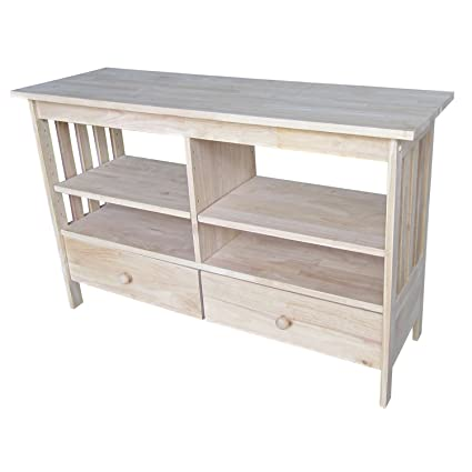 International Concepts Unfinished Mission Entertainment/TV Stand, Brown